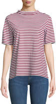 MiH Jeans Penny Mock-Neck Striped Cotton Tee
