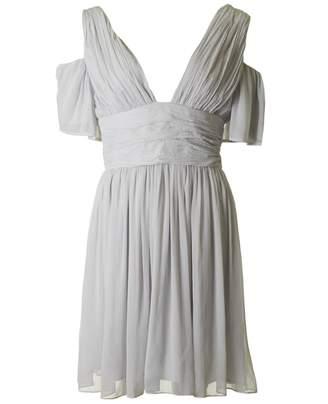 French Connection Constance Drape Cold Shoulder Dress Colour: GREY, Si