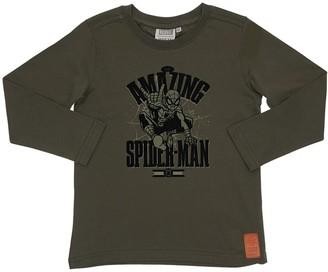 Wheat Spider-man Print Cotton Jersey T-shirt