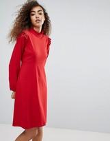 Liquorish Long Sleeve Shift Dress With Ruffles
