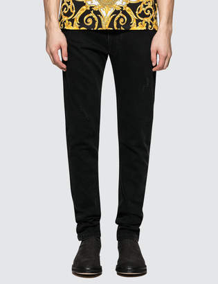 Versace Black Jeans With Feather Print Back Pockets