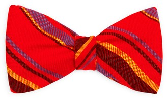 Koy Clothing Red Striped Mara Self-Tie Bow Tie