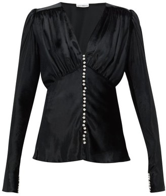 Paco Rabanne Crystal-button Velvet Blouse - Black