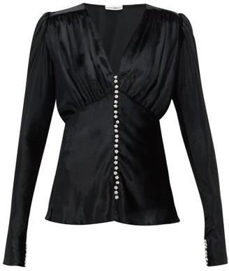 Paco Rabanne Crystal-button Velvet Blouse - Womens - Black