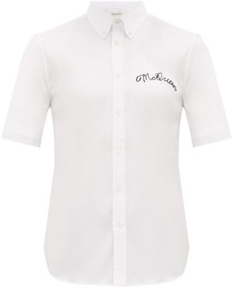 Alexander McQueen Brad Pitt Script-embroidered Cotton-blend Shirt - White