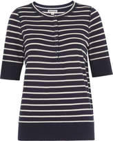 Whistles Stripe Button Front Henley Tee