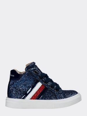 Tommy Hilfiger Colour-Blocked Glitter Lace-Up Trainers