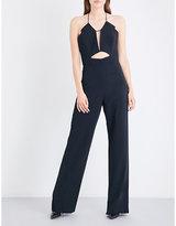 Cushnie et Ochs Spaghetti-strap cutout fitted crepe jumpsuit