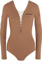 Off-White Appliquéd Lace-up Jersey Bodysuit - Sand