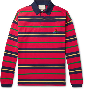 Gucci Appliqued Striped Cotton-Jersey Polo Shirt