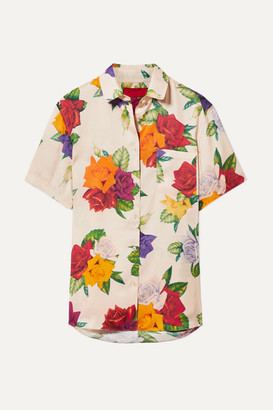 BEIGE Commission - Banker Floral-print Satin-twill Shirt