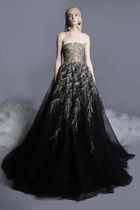 GEORGES HOBEIKA Beaded Tulle Gown