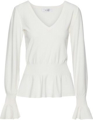 Milly Fluted Stretch-knit Top