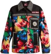 Miu Miu Flower-print embellished stretch-denim jacket