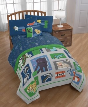 Minecraft 'Patchwork Mobs' 8pc Full bed in a bag Bedding