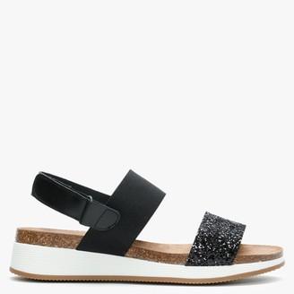 Daniel Bottlewell II Black Glitter Low Wedge Sandals