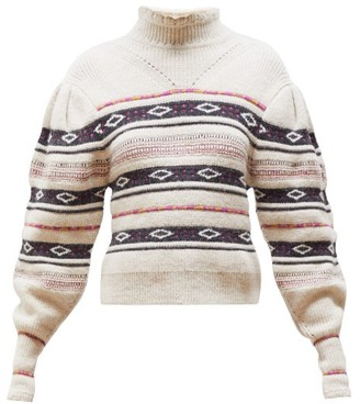 Isabel Marant Conley High-neck Striped Sweater - Womens - Ivory Multi
