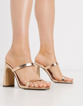Qupid strappy heeled mules in rose gold