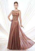 Mon Cheri Ivonne D - Illusion Scroll Motif A-Line Gown 215D12