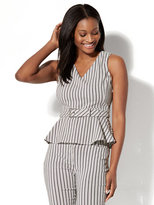New York & Co. 7th Avenue Peplum Top - Black & White Stripe
