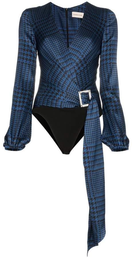 Alexandre Vauthier houndstooth print silk bodysuit