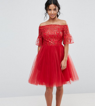 Chi Chi London Tulle Midi Prom Dress With Lace Fluted Sleeves