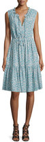 Rebecca Taylor Sleeveless Split-Neck Tiered Dress, Turquoise/Combo
