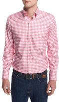 Peter Millar Check Long-Sleeve Oxford Shirt, Red