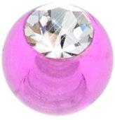 BodyJewelleryShop UV Threaded Jewelled Ball - Purple