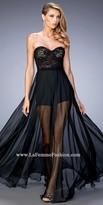 La Femme Chiffon Overlay Lace Bustier Prom Dress