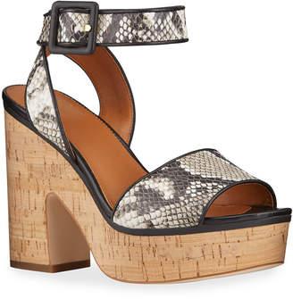 Franco Sarto Franny Snake-Print Cork Platform Sandals