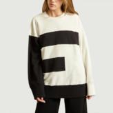 Maison Margiela Black and White E Oversized Sweatshirt - xs | cotton | black and white