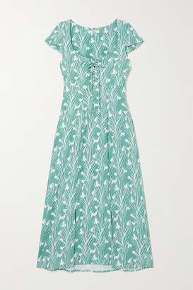 Miaou Net Sustain Arielle Lace-up Floral-print Stretch-crepe Dress - Green