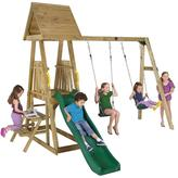 Plum Indri Wooden Climbing Frame Outdoor Play Centre With Double Swing And Picnic Table