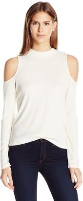 Jack by BB Dakota Women's Gretal Fitted Cold Shoulder Long Sleeve Rib Top