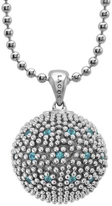 Lagos Caviar Talisman Silver Swiss Blue Topaz 34In Necklace
