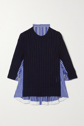 Sacai Paneled Striped Cotton-poplin And Ribbed Wool Sweater - Navy
