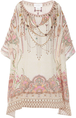 Camilla Crystal-embellished Printed Silk Crepe De Chine Coverup