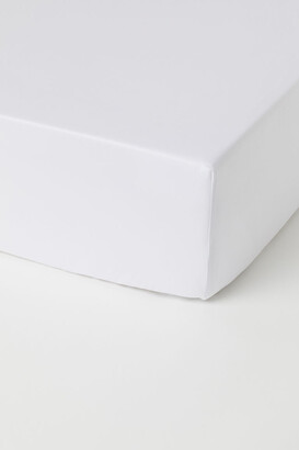 H&M Fitted Cotton Satin Sheet - White