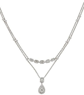 Zydo Mosaic 18K White Gold Diamond Double-Chain Pendant Necklace