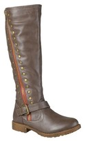 Journee Collection Women's Round Toe Studded Zipper Riding Boots