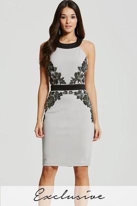 Little Mistress Grey Embellished Waist Bodycon Dress
