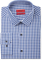 Alfani RED Men's Fitted Performance Blue Double Gingham Dress Shirt, Only at Macy's