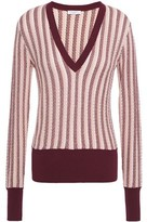 Equipment Pierette Striped Pointelle-knit Silk And Cotton-blend Sweater