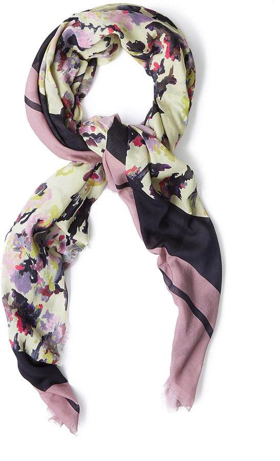 Michael Van Der Ham Pink Floral Watercolour Scarf