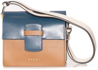 Marni Crossbody Shopping Bag in Blue/Black