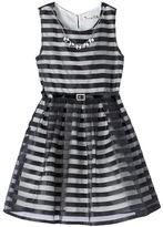 Knitworks Girls 7-16 Burnout Striped Dress with Necklace