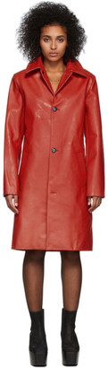 Mowalola Red Leather Stroke Coat