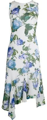 Calvin Klein Floral Chiffon Asymmetric Flounce Dress
