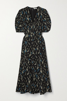 Erdem Gracelyn Floral-print Silk Crepe De Chine Midi Dress - Black